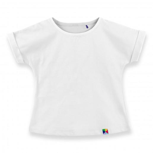 biały t shirt dla dziewczynki z krótkim rękawem