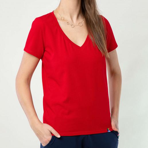 czerwony t shirt damski