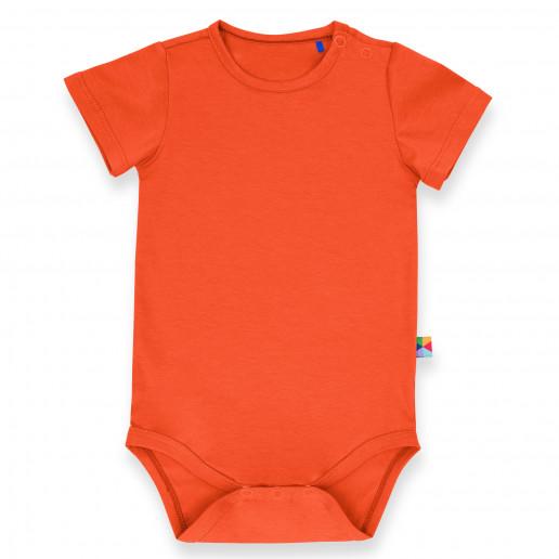 Pomarańczowe body dla niemowlaka, noworodka, dziecka z krótkim rękawem.