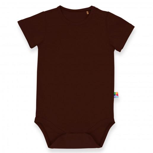 Brązowe body dziecięce krótki rękaw - Solidne, modne brązowe body niemowlęce w dobrej cenie