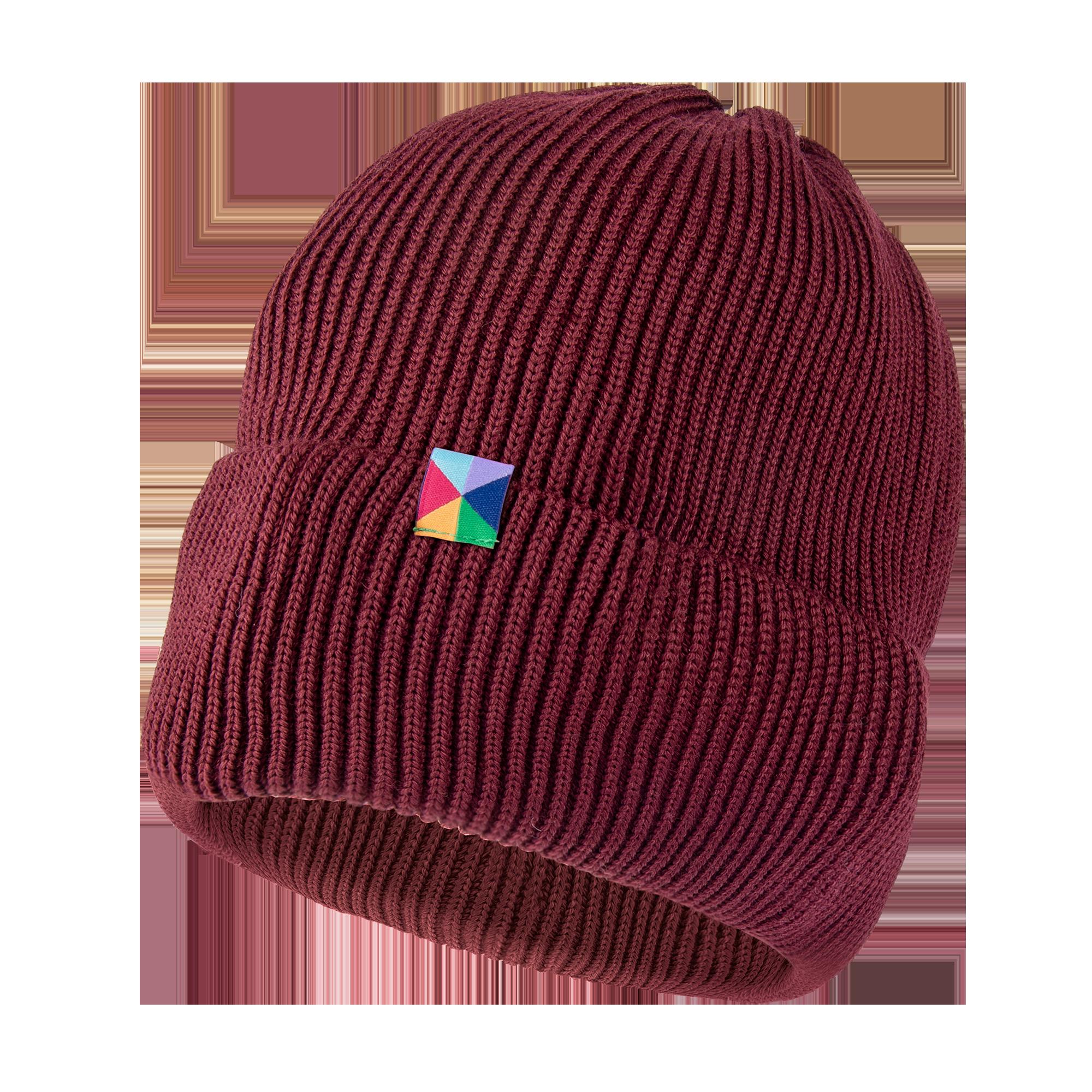 Bordowa czapka z wełny Merino